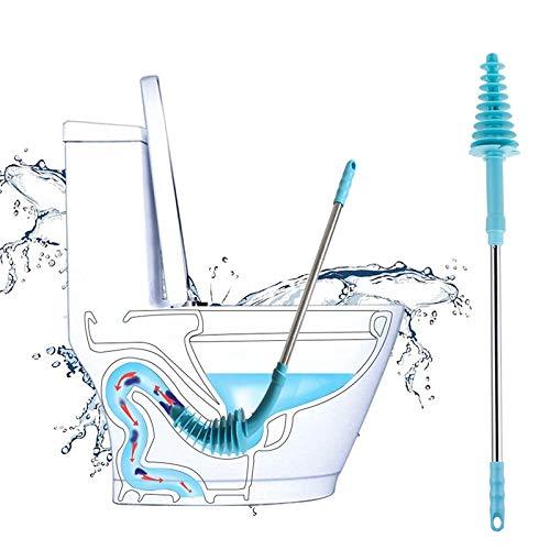NGHXZ Toilettenbürstenkolben Edelstahl Langstielig mit Wandhaken Bagger gereinigt Flexibles Abwasserrohr verstopft Haushaltswerkzeug