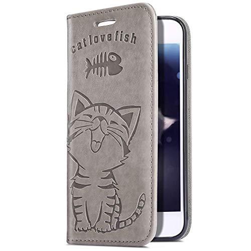 Uposao Housse de téléphone Huawei P30 Pro Coque Pochette Portefeuille Cuir Coque, Relief Etui Housse PU Premium Flip Cover Case Coque à Rabat Clapet 3D Effet Chat Motif Coque Huawei P30 Pro,Gris