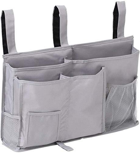 FUNYU - Organizador de Almacenamiento de mesita de Noche con 8 Bolsillos para litera, barandillas de Hospital, Cama de bebé, Campamento (Gris)