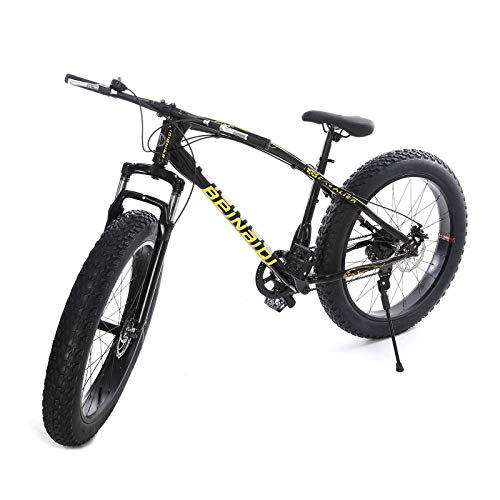 26Inch Mountain Bike Fat Tire, Medium High-Tensile Aluminum Frame, 21-Speed Wheels, 4-Inch Wide Knobby Tires, Front and Rear Brakes, Outdoor Cycling Road Bike