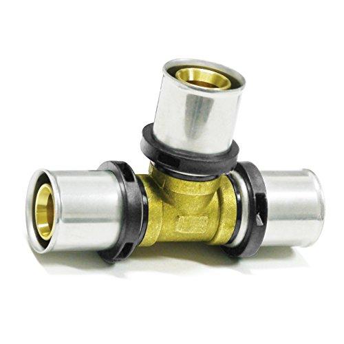 Pipetec Pressfitting T Stück 16x2 mm 16x16x16 TH Kontur Verbundrohr, DVGW, TH-Profil