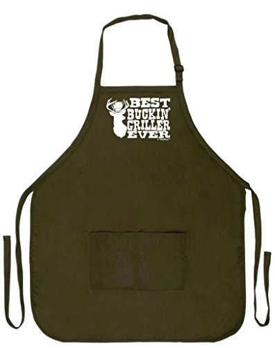 Best Buckin' Griller Ever Deer Hunting Redneck Gag Gift Funny Apron for Kitchen BBQ Barbecue Cooking Baking Grilling Bacon Two Pocket Apron for Country Chef Deer Hunter Venison Apron Military Olive Green