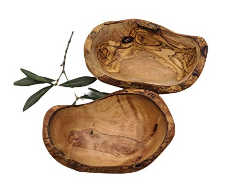 Prosudweb - Juego de 2 cuencos pequeños naturales de madera de olivo
