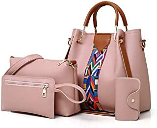 Women PU Leather Shoulder Bags and Handbags Tote Bag Set of 4 for Shopping and Travel
