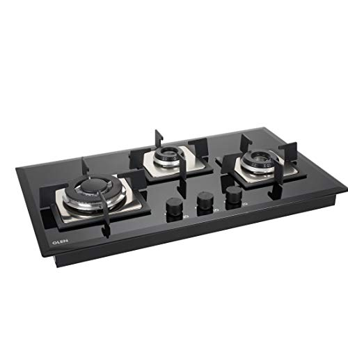 Glen 1073 SQ HT in TR 3 Burner Built-in Glass Gas Hob - Auto Ignition
