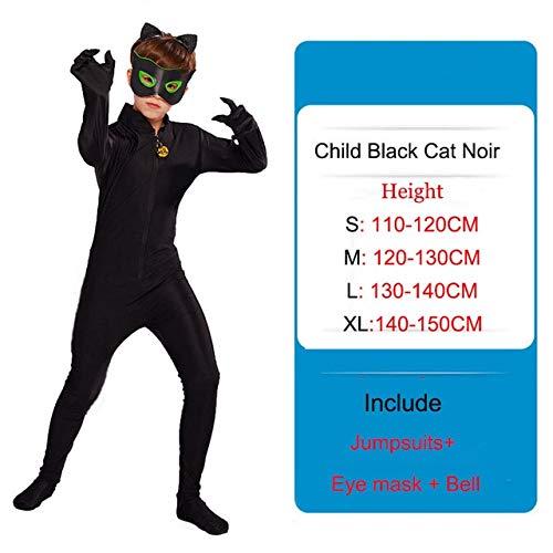 BCOGG Lady Bug Disfraces Nias Nios Ladybug Jumpsuit + Mscara Adrien Agreste Black Cat Noir Cat Cosplay Nios Disfraces de Halloween C3578CH S Negro