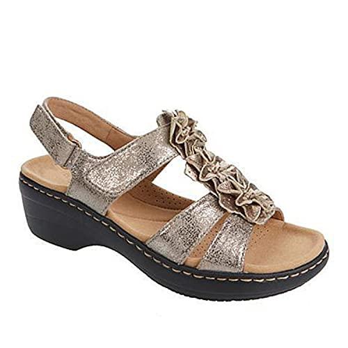 ZLZNX Sandalias Mujer Chanclas Tacon de Cuña Plataforma del Verano Cómodos bierta Sandalias Moda Zapatos Tacon para Caminar,Oro,37CN