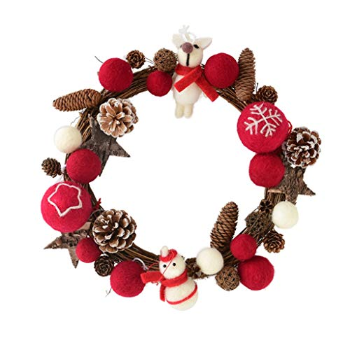LUAN Christmas Wreath Garland 30cm Beautiful Handcrafted Wicker Wool Felt Ball Front Porch Wedding Holiday Party Decoration (Color : C)