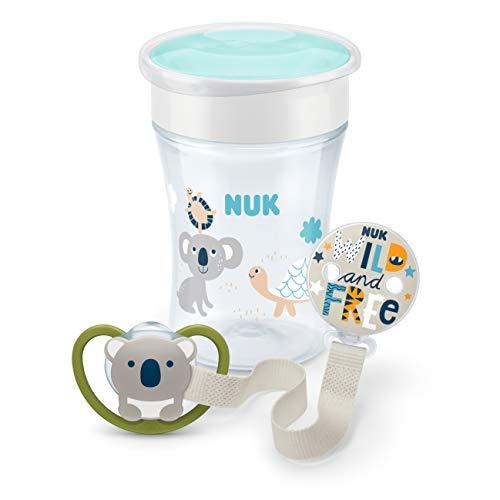 NUK 10225207 Magic & Space Set, Magic Cup, Space Schnuller, Schnullerband, ab 6+ Monaten, BPA-frei, Neutral, weiß