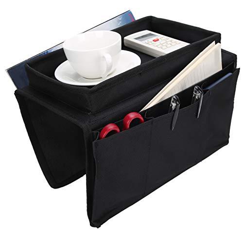 wxf 4 Taschen Sofa Armlehne Tv Fernbedienung Organizer Sessel Couch Tasche Mit Becherhalterung Black Black