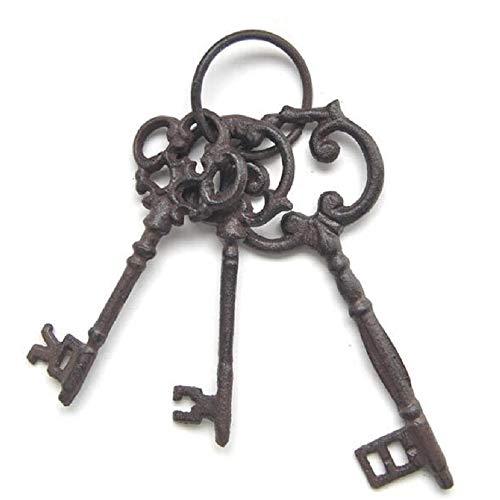 Juego de tres llaves de carcelero de hierro fundido en anillo, tamaño grande, hierro fundido, estilo vintage antiguo