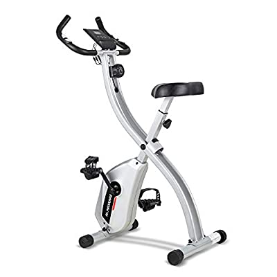 ✅STABLE DESIGN - The stationary bike's silver frame combining the X-type design physical balance theory in the design, you can feel the bike is sturdy and don't worry you will fall down. ✅8 LEVEL MAGNETIC RESISTANCE - This folding exercise bike is su...