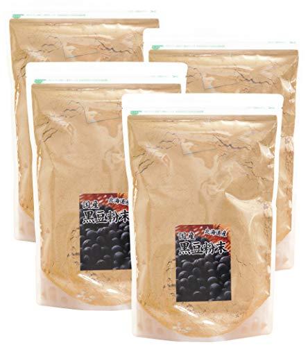 自然健康社 北海道産・黒豆粉末 1kg×4個 チャック付き袋入り
