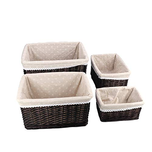 aleawol Set of 4 Natural Hand-Woven Rectangular Wicker Baskets Wicker Storage Cube Container Box With Removable Liners Gift Hamper Ideal For Hotel, Bathroom Bedroom, Kitchen, Home Decor - Dark Brown