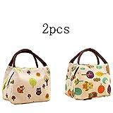 inherited 2 pcs sac repas lunch bag, déjeuner boite isotherme fourre-tout pour le École et le travail-blanc et beige(22.0 cm * 17.0 cm * 15.0 cm)