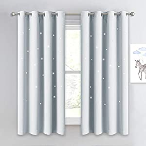 NICETOWN Room Darkening Curtain Panel – Kids Curtains Drape with Twinkle Hollow Star Laser Cut Out Design Window Treatment for Nursery/Kid's Bedroom (1 Panel,52W x 63L, Greyish White)