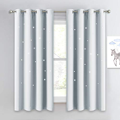 NICETOWN Room Darkening Curtain Panel - Zodiac Constellation Drape with Star Cut Out Design, Nursery/Kid's Bedroom Essential (1 Panel,52W x 63L, Platinum-Greyish White)