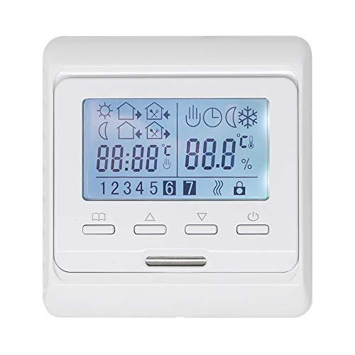 KETOTEK Programmierbar Thermostat mit fühler AC 230V 16A Elektrische Fußbodenheizung LCD Digital Raumthermostat Manuell Temperaturregler Elektroheizung