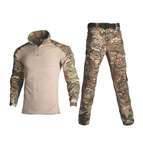 Ketamyy Herren Damen Taktische Tarnkleidung 2-teiliges Set Camo Shirts und Hose Outdoor Multi-Tasche Trekkinghemd Tarnhose Wander Militär Combat Jagdbekleidung CP 38W / 42L