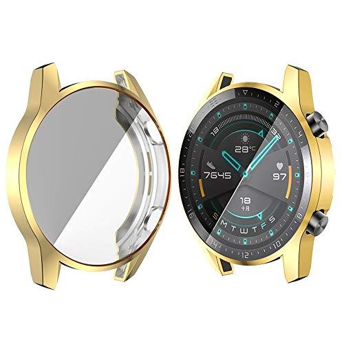 Bcyhls For Huawei Watch GT2 46mm TPU Todo Incluido Caja de Reloj smartwatch Protective (Color : Golden)