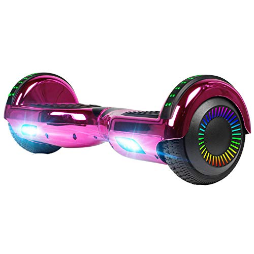 UNI-SUN Chrome Hoverboard for Kids, 6.5' Two Wheel Electric Scooter, Self Balancing Hoverboard with Bluetooth and LED Lights for Adults, UL 2272 Certified Hover Board,Bluetooth Rose Red