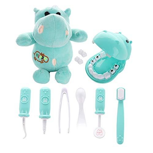 Deckenleuchte,Bermnn 9 Stück for Kinder Spielzeug-Set - Hippo Spiele Zahnarzt überprüfen Teeth Model Set Medical Education Rolle Simulation Lernen Spielzeug Kind Puzzle Frühkindliche Bildung Zahnklini
