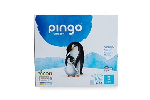 Pingo - Pañales Talla 5 Junior - 2 paquetes de 36 unidades-12-25 kg- Pañales para bebé - Anti-alergénicos sin perfume - Máxima Absorción - Pañales ecológicos - Pieles sensibles - Color Blanco