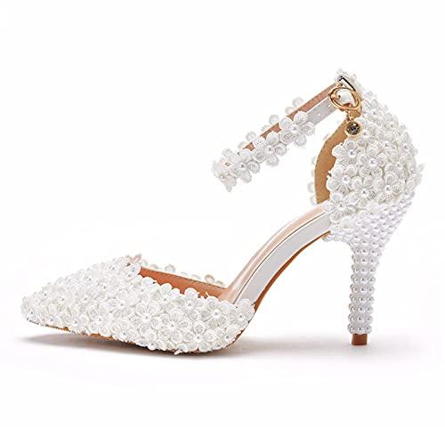 Zapatos De Novia Para Mujer,Zapatos De Novia De Tacón En Punta,Cordón Perla...
