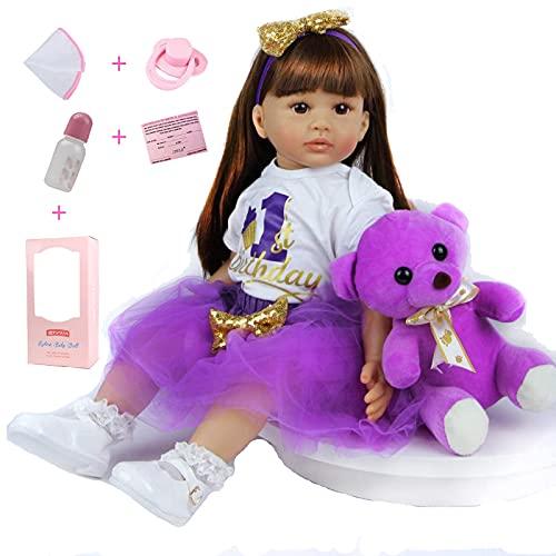 ZIYIUI Reborn Baby Dolls 24 Inch 60 Cm That Baby Looks Real Doll Soft Silicone Vinyl Realistic Reborn Lifelike Toddler Girl Birthday Toys