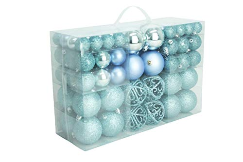 Geschenkestadl - 100 palline di Natale blu ghiaccio lucide, opache, con brillantini per albero di Natale fino a Ø 6 cm, Decorazioni da appendere all'albero di Natale