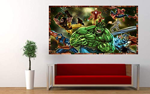 Kids Cartoon Marvels Avengers Legacy 3D Smashed Wall Removable Wall Sticker Poster Mural Art UK (110 x 70 cm)