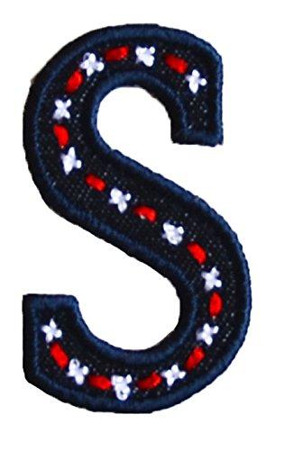 S 5cm hoog denim blauw letteropstrijkapplicatie letter stof om op jeans rok broek jurken pet hoed jas sjaal halsdoek kamer doopgeschenk motieven meisjesgeschenk korte waren K