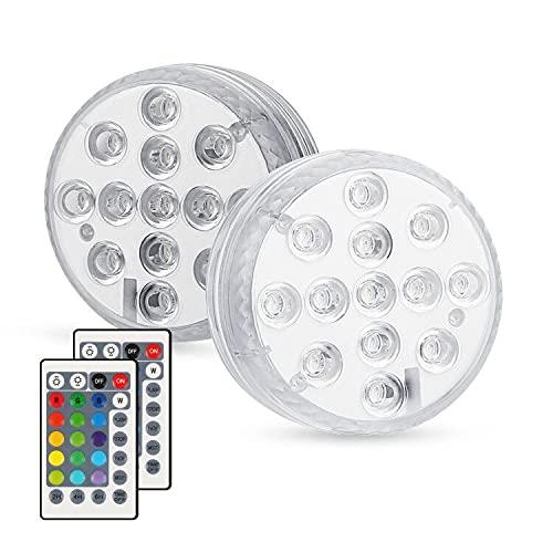 Zorara Unterwasser LED 2 Stück Unterwasser Licht mit IR Fernbedienung Poolbeleuchtung 13 LEDs IP68 Wasserdichte LED Unterwasserlicht RGB Farbwechsel Poollicht für Schwimmbad Vase Aquarium Dekoration