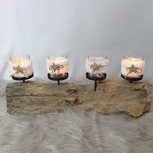 Kerzenhalter Kerzenständer Teak Holz Baumstamm Adventskranz Länglich Gesteck