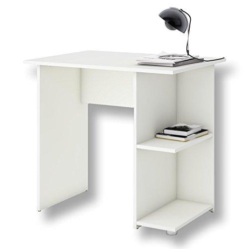 CARO-Möbel Schreibtisch Computertisch Kinderschreibtisch Kuba in weiß, mit 2 Ablageflächen, 82 x 76 x 60 cm, Bürotisch