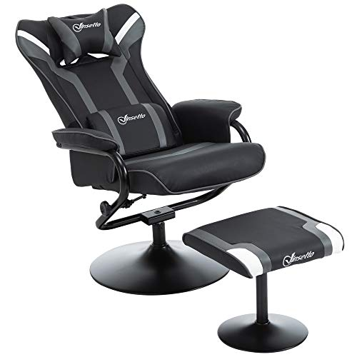 Vinsetto Relaxsessel mit Hocker, Fernsehsessel, Polstersessel, Gaming-Liegesofa, 130° neigbar, Schwarz+Grau, 67 x 82,5 x 103 cm
