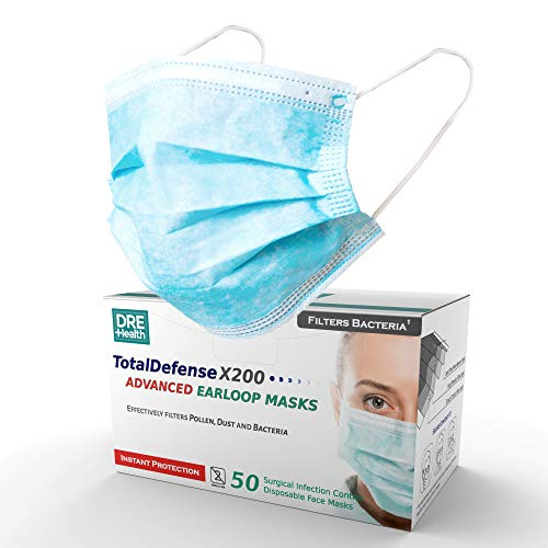 Dre Health 3 Ply Disposable Face Masks, 50 Count - Ear Loop Face Shields - Helps Filter Dust, Pollen, Germs - Latex Free, Glass Free Filter, Non Woven