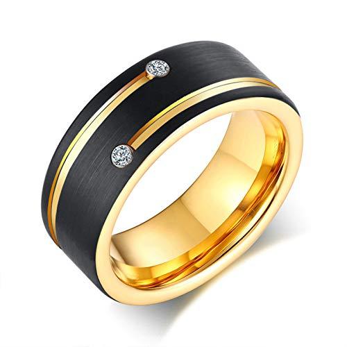 Aeici Ringe für Herren Edelstahl Schwarzgold Ring mit Zirkonia Ringe Gold Schwarz Ringgröße 67 (21.3)