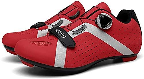 KUXUAN Calzado de Ciclismo para Hombre,Calzado de Ciclismo Sin Bloqueo Calzado Deportivo para Mujer Calzado de Refuerzo para Bicicleta/Suelas de Goma,Red-46EU