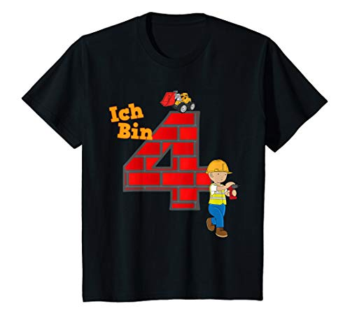 Kinder Geburtstagsshirt 4 Jahre Junge Bagger Baumeister T-Shirt