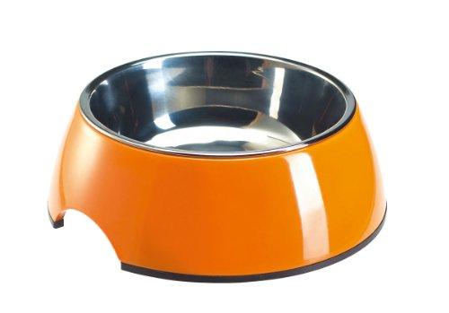HUNTER Melamin-Napf, Futternapf, Trinknapf für Hunde und Katzen, herausnehmbarer Edelstahlnapf, 350 ml, orange