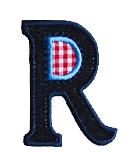 Parche de letras del abecedario azul denim de 9 cm para planchar en camisas, vaqueros, faldas, pantalones, vestidos, gorras, chaquetas, bufandas, mochilas, mochilas, banderas, carteles para puerta K