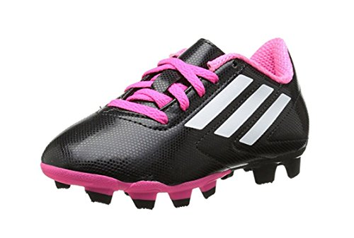 adidas Kids Conquisto Fg Black/White/Solar Pink Soccer Shoes...