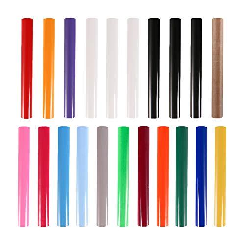 HTV Vinyl-Rollen zum Wärmetransfern, 21 Stück + 1 Stück Teflonfolie für Hitzepresse, 30,5 x 25,4 cm, für DIY-T-Shirts, Hitzepresse, Vinyl-Bündel, leicht zu schneiden und zu Unkraut-Bügeln, Vinyl für Cricut & Silhouette Cameo