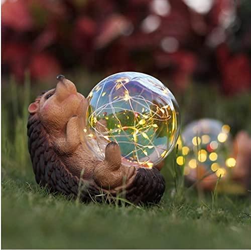 Luces solares decorativas al aire libre erizo estatuas de jardín, decoración de jardín, patio, patio, césped, decoraciones de resina, figuras de animales, el mejor regalo para adultos y niños OURUOLA