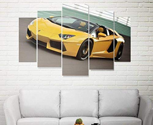 ELSFK Wall art canvas 5 Piece Wall Art Picture Yellow Prints On Canvas Pictures For Home Modern Decoration HD Print Decor For Living Room,bedroom etc wall Decoration 150cm x 80cm