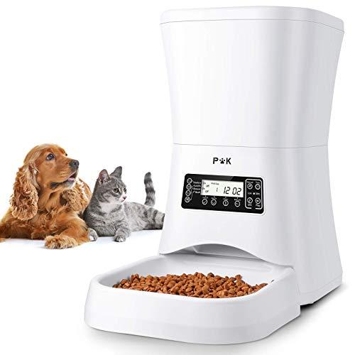 PUPPY KITTY Distributeur de Croquettes pour Chats et Chiens, 7L Distributeur Automatique de Nourriture Enregistrement Vocal Programmable 4 Repas par Jour (Blanc 7 Litre)