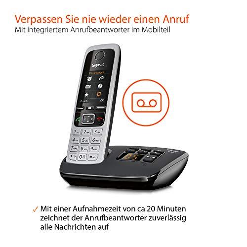 Gigaset C430A Trio Telefon – Schnurlostelefon / 3 Mobilteile – TFT-Farbdisplay / Dect-Telefon – mit Anrufbeantworter / Freisprechfunktion – Analog Telefon – Schwarz - 3