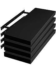 WOLTU Wandplank Zwevende plank Zwart set van 4,CD plank Hangende plank 60x22,9x3,8cm in MDF,RG9319sz-4