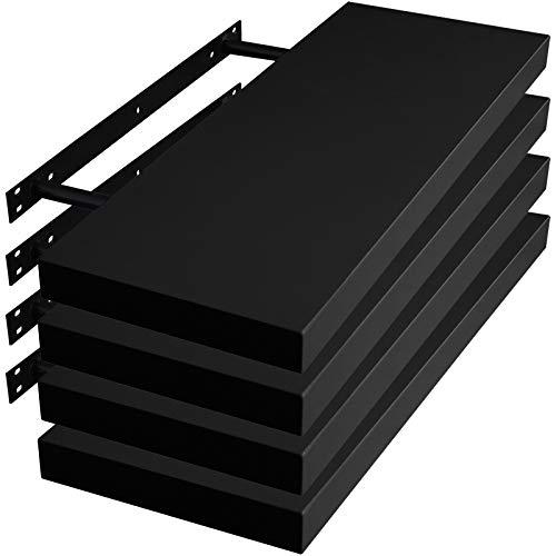 WOLTU RG9371sz-4 - Juego de 4 estanterías de pared para decoración, de madera de densidad media, 30 x 23 x 3,8 cm, color negro